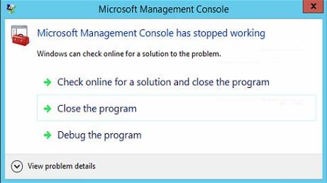 DM Fax Gateway Microsoft Management Console error on Windows Server 2012