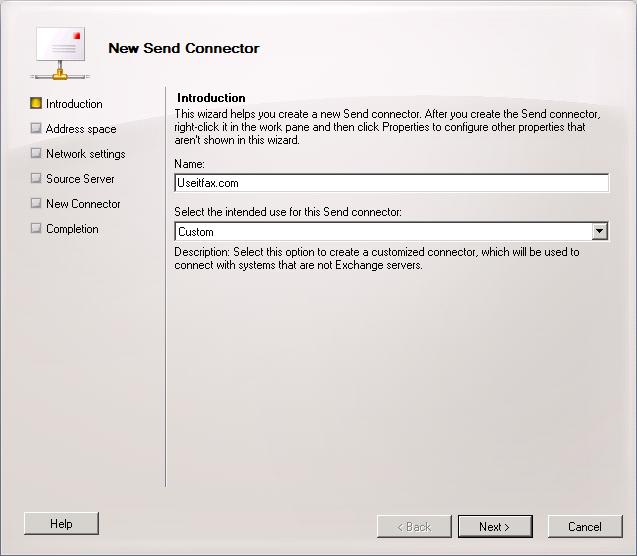 Create a New Send Connector for useitfax.com.