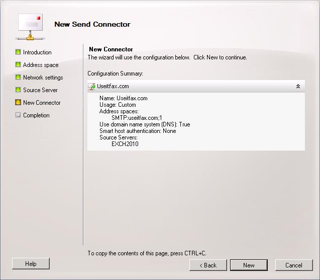 Verify new Useitfax.com Send Connector details.