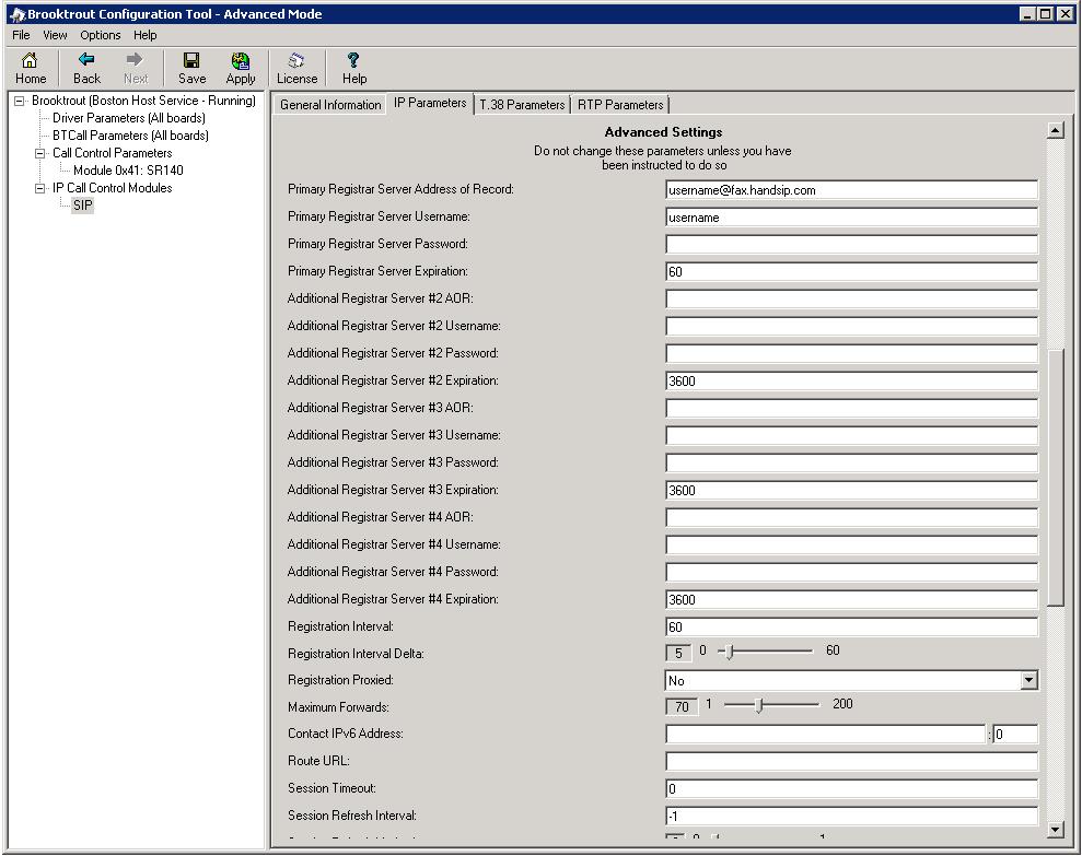 Brooktrout SR140 Configuration for handSIP T.38 Fax